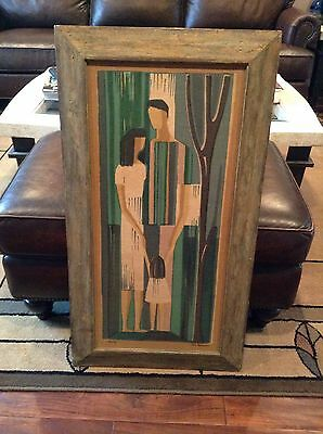 Ilse Roempke Fabric Print Signed Mid Century Modern Titled Family