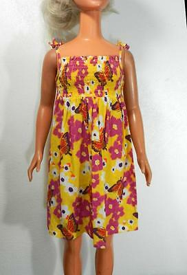 My Size Barbie Yellow Sundress with Fuchsia Flowers and Butterflies Print