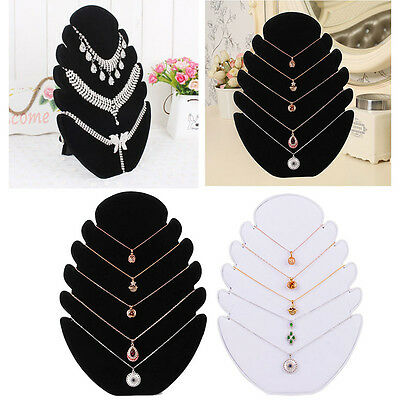 Necklace Jewelry Pendant Chain Display Holder Stand Velvet Easel Organizer Rack