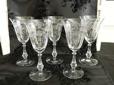 """(5) Gorgeous 1930's Vintage Fostoria """"Corsage"""" Crystal Water Goblets"""