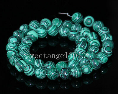 """6 8mm Natural Malachite Jewelry Making Round Loose Spacer Beads String 15.5"""""""