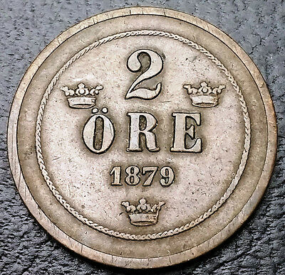 1879 Sweden 2 Ore Bronze Coin **VF Condition** KM# 735 - FREE COMBINED S/H