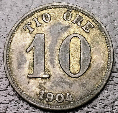 1904 Sweden 10 Ore Silver Coin **Great Condition** KM# 755 - FREE COMBINED S/H