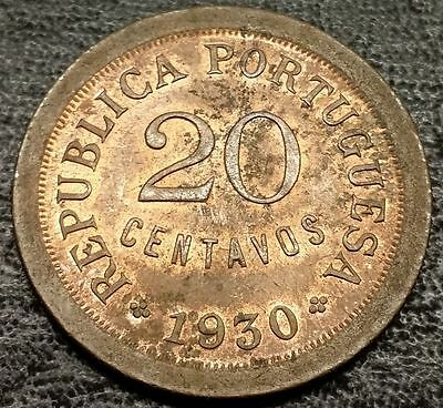 1930 Portugal 20 Centavos Cents - Old Foreign Coin - High Grade