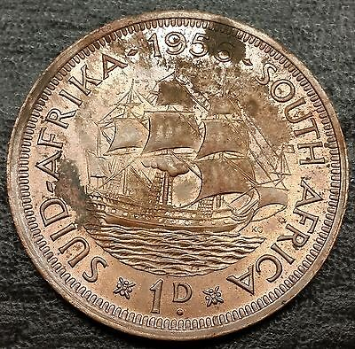 1956 South Africa Half Cent Coin - 1/2d Penny - High Grade