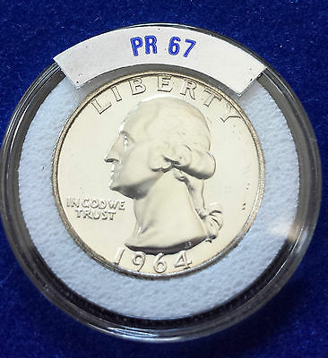 1964 Proof Washington Silver Quarter - American Twenty Five Cents - Pr67++