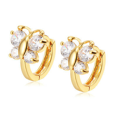 Cute Babys Childrens Little Girls Butterfly Tiny Cluster Crystal Hoop Earrings