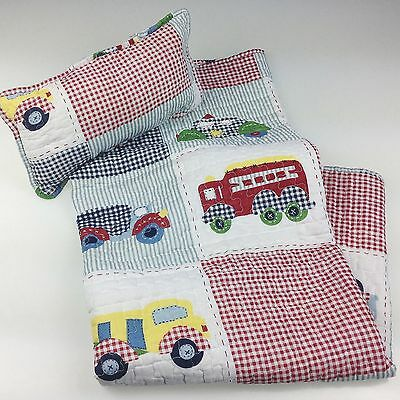 Baby Boy Cot Set Nursery Quilt Blanket Throw & Cushion / Pillow Shabby Chic New