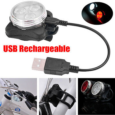 3 LED Cycling Bicycle MTB Bike Head Rear USB Rechargeable Tail Lights Clip Lamp