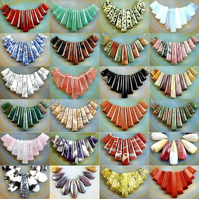 Natural 9/11pcs Graduated Gemstone Pendant Stick Beads Set For Necklace Jewelry