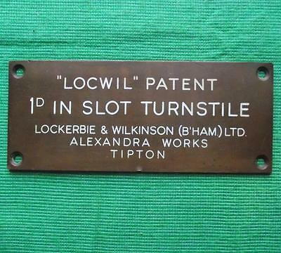 "Brass Vintage Industrial Sign Plaque : Locwil 1D Penny Turnstyle  6.5"" X 2.75"""