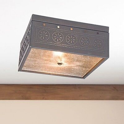 Country new blacken tin punched tin square ceiling light /FREE SHIPPING
