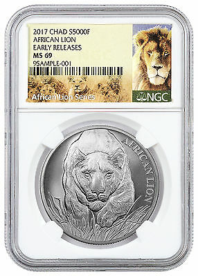 2017 Republic of Chad 5000 Francs 1 oz. Silver African Lion NGC MS69 ER SKU43312