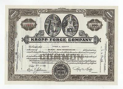 Kropp Forge Co. Stock Certificate - signed by Roy A. Kropp