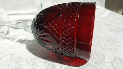 "2 Antique Ruby Red 8 "" Water Goblets Fan Diamond Cristal  DArques Durand"
