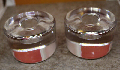 Orrefors Sweden Art Glass Set of 2 Puck Candle Holders Signed Clear Swedish