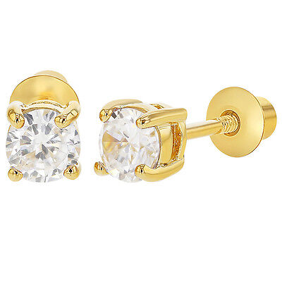 18k Gold Plated April Clear CZ Screw Back Earrings Toddlers Kids 4mm