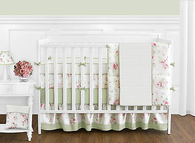 Cheap Shabby Chic Pink Flower 9p Baby Girl Crib Bedding Comforter Set Collection