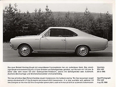 Opel Rekord Hardtop Coupe Period Photograph.