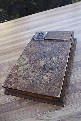 Antique Victorian Pyography Traveling Writing Desk with Inkwell
