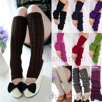 Women Ladies Winter Warm Leg Warmers Cable Knit Knitted Crochet Long Socks Cozy