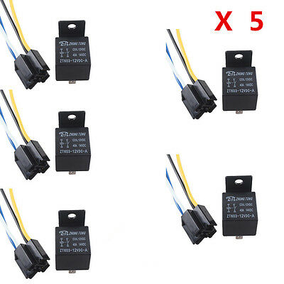Universal 5pcs Car Truck Auto 12V 40A SPST Relay Relays 4 Pin 4P & Socket 4 Wire