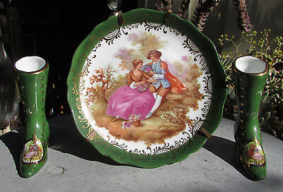 3 Pieces Limoges Green Plate & Pair  Of Boots