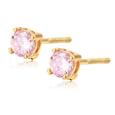 Baby Girl Kids Safety Backs Screwback Stud Earrings Crystal 14K Gold Filled Lot