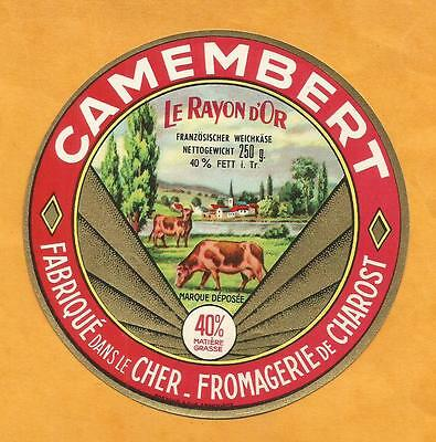 Cher Étiquette Camembert  A Charost Berry Rayon D Or Vaches Eglise Cow