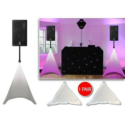 Gorilla Disco DJ PA Stage Speaker Stand Lighting Scrim Covers White (Pair)
