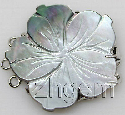 natural gray mother of pearl shell flower  clasp 30mm  necklace Findings