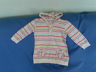 Girls 3-4 Years - White Pink Candy Striped Hooded Top - Next