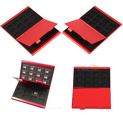 Red Alloy Memory 24 TF Micro SD Card Storage Case Box Protector Holder