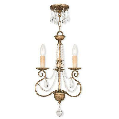 Livex 51903-36 Isabella 3 Light Mini Chandelier In Hand Applied European Bronze