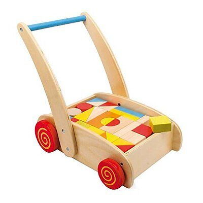 Toddler Baby Wooden Trundle Truck Training Walker with Toy Building Blocks Brick