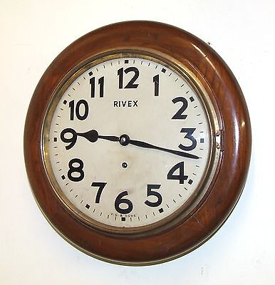 Vintage Round Dial Oak Wall Clock School / Station Clock : RIVEX V. C. & SONS