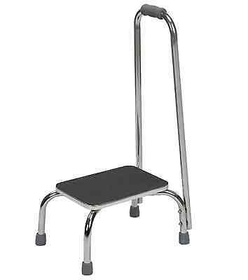 DMI Bathroom Aids 250-lb 1-Step Chrome Steel Step Foot Stool with Support Handle