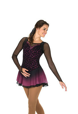 NEW COMPETITION FIGURE SKATING DRESS Jerrys Coral Cascade Gold Adult X-Large AXL
