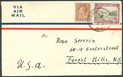 British Jamaica To Usa Old Air Mail Cover Very Good
