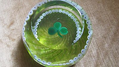 "CAITHNESS GLASS FACETED PAPERWEIGHT: ""EMERALD SHAMROCK"", Ltd Ed.134/800,Scotland"