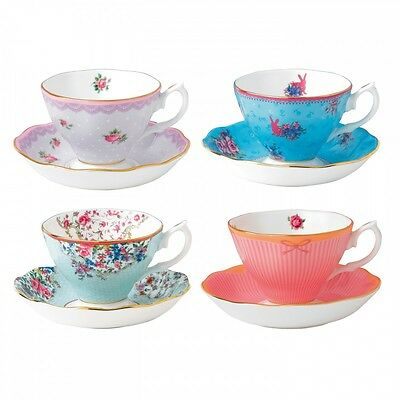 Royal Albert Candy Teacups & Saucers, Set of 4