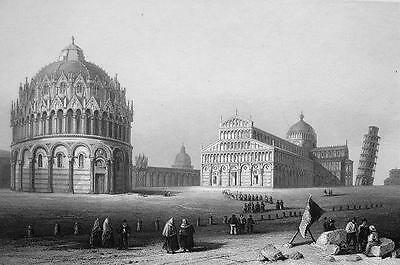 Pisa city map Edizioni Ponte Vecchio by G B Probst  F B Werner Vintage art engraving print of Perspective view of Pisa