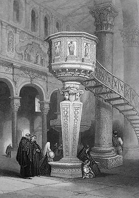 ITALY Sicily Pulpit in Messina Cathedral - 155 Years Old Antique Print Engraving