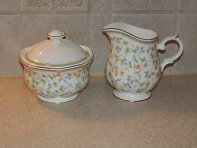 Block China Windsor Bone Fleuri Cream & Sugar Set Gold Trimmed Excellent!