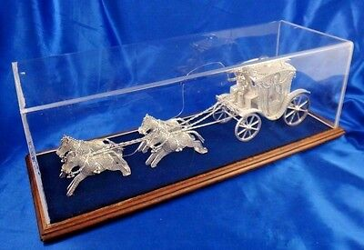 Vintage Sterling Silver Filigree Stagecoach with Horses Rare Mesopotamian Art