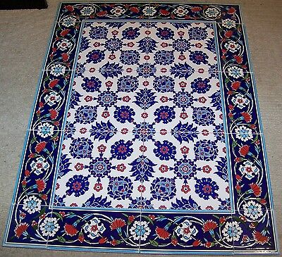 "Raised Iznik Carnation Pattern Border 32""x24"" Turkish Ceramic Tile Mural Panel"