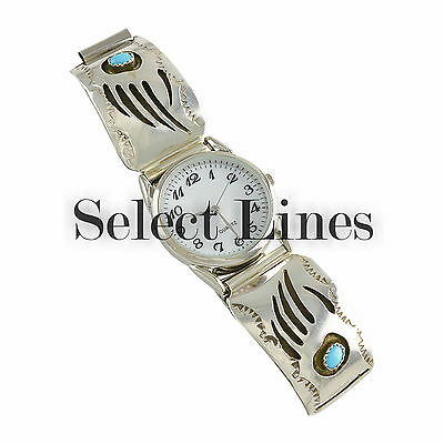 Pearlene Spencer Sterling Silver Turquoise Bear Claw Mens' Watch Navajo Jewelry