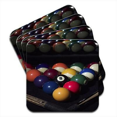 Pool Table Balls Ready To Play With Cues Set of 4 Coasters