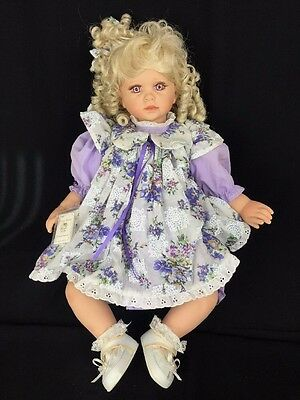 Royal Vienna Doll Collection Haley Lavender Eyes Curly Blond Hair Baby Doll 24""