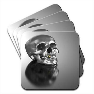 Chrome Skull With Gold Tooth Set of 4 Coasters